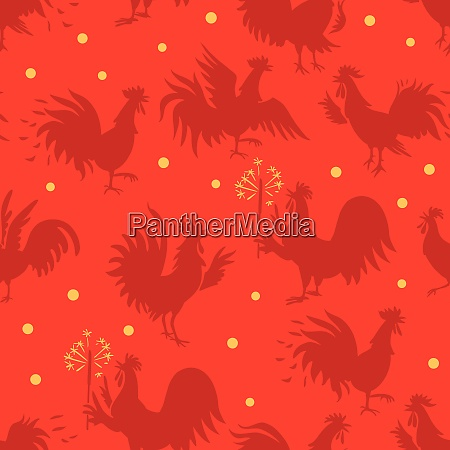 seamless pattern with roosters in different
