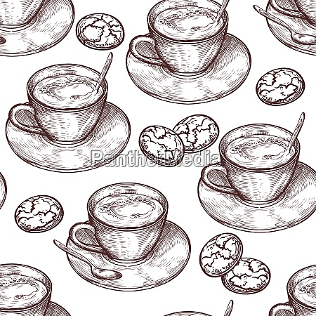 hand drawn food seamless pattern cup