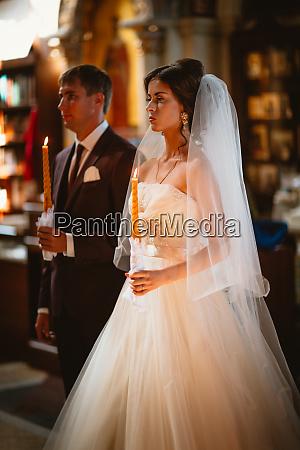 newlyweds wedding ceremony in the church