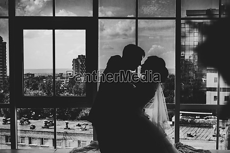 black white photo bride and groom