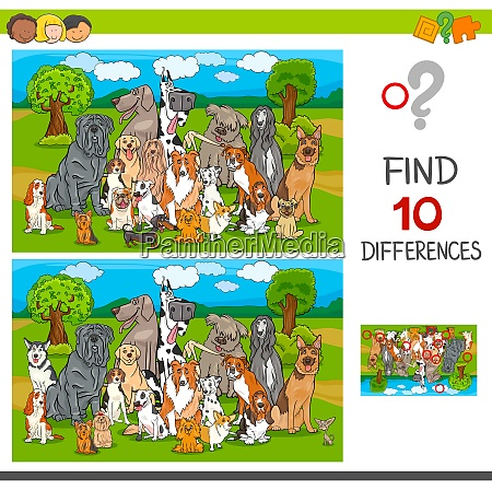 find differences game with purebred dogs
