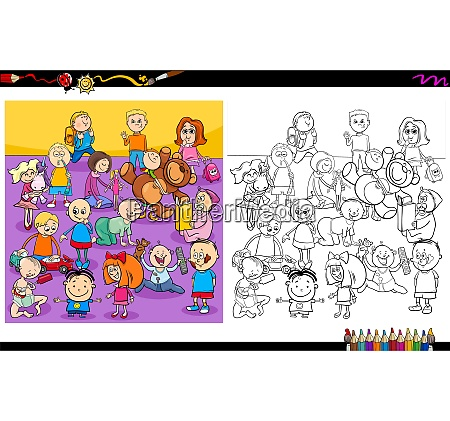 funny children characters coloring book