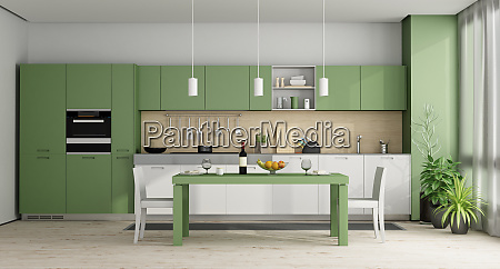 green and white modern kitchen