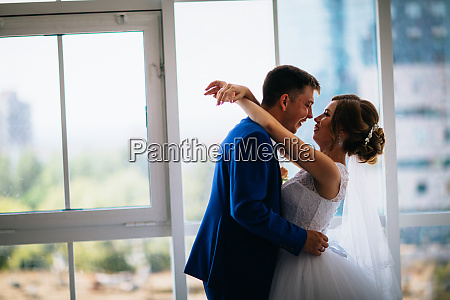 bride and groom on background clear