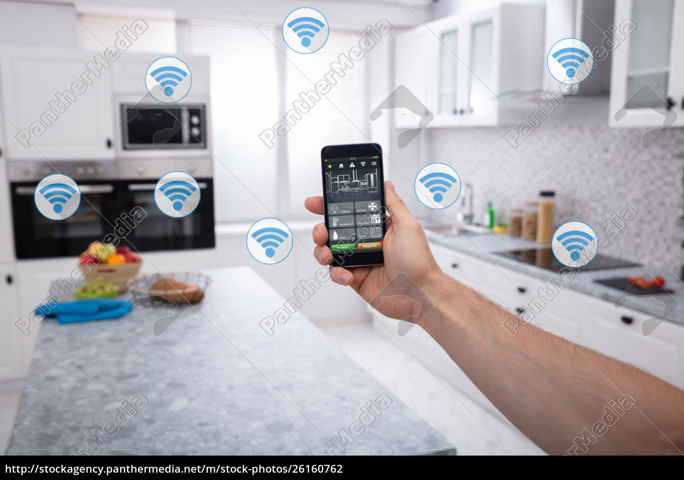 person's, using, smart, home, system, application - 26160762