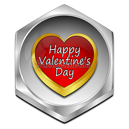 silver red happy valentines day button