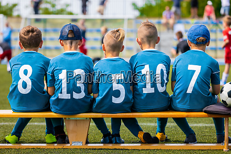 childrens football team during the match