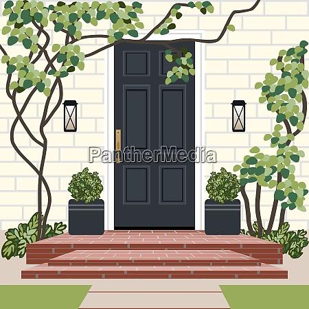 house door front with doorstep and