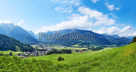 panorama of toblach city at daylight