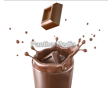 two chocolate cubes splashing in a