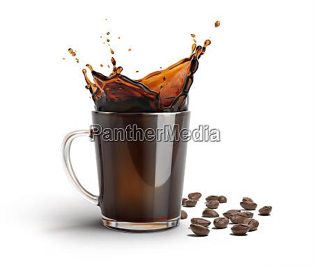 glass mug with coffee splash some