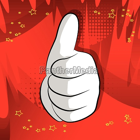 vector cartoon hand thumbs up sign