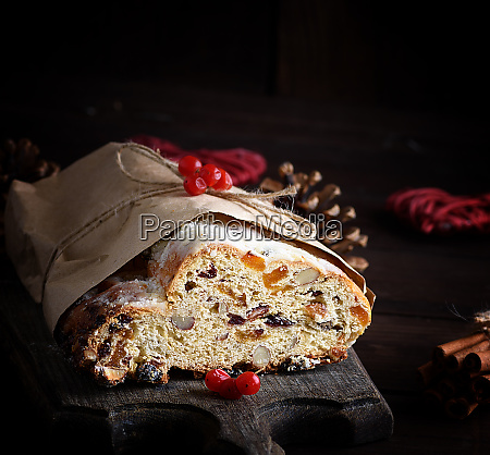 traditional european stollen cake with nuts