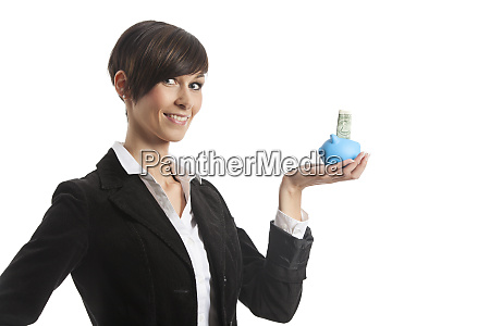 young business woman with a piggy