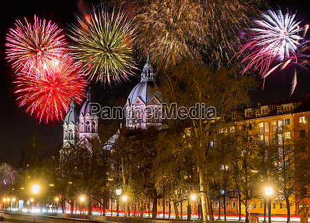 fireworks at the sankt lukas church