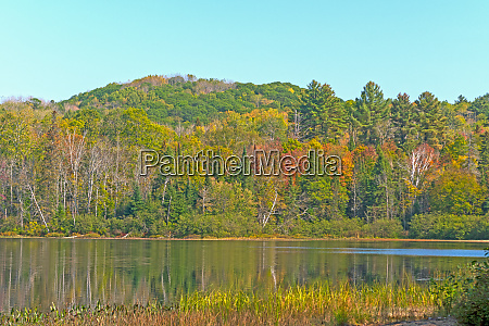 fall colors on a forested lake
