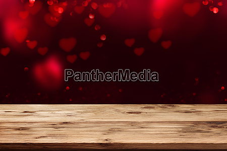 valentines background with wooden table