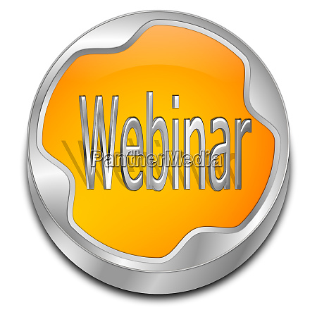 orange webinar button 3d illustration