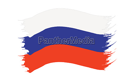 brushstroke painted flag of russia