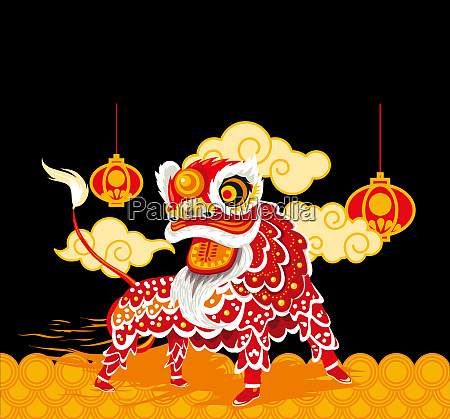 chinese new year lion red lanterns