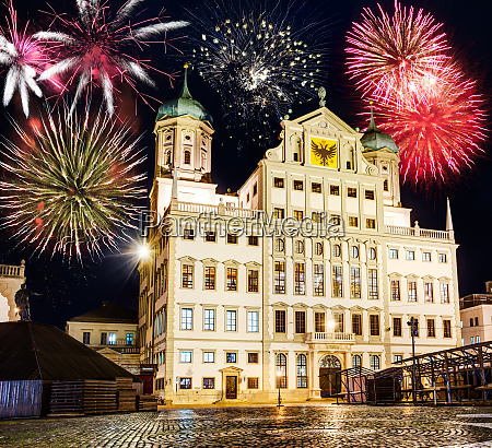 fireworks at the illuminated town hall