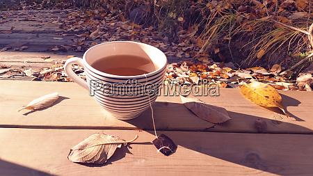 large teacup with organic green tea