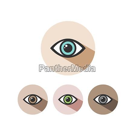 human eye icon set with shade
