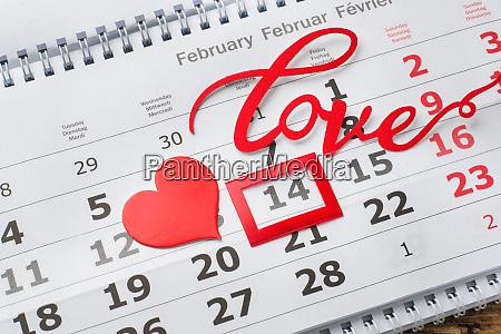 february 14 calendar valentines day concept
