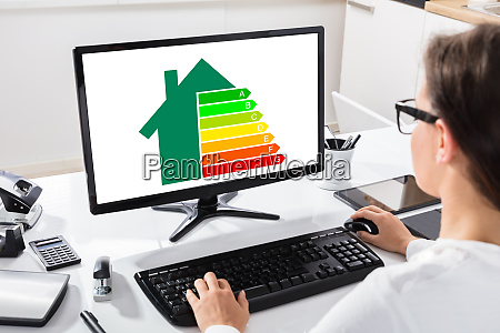 businesswoman using computer at workplace
