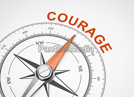 compass on white background courage concept