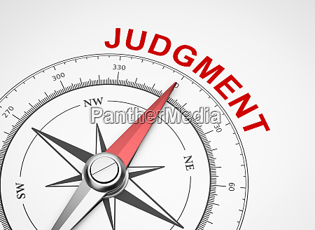 compass on white background judgment concept