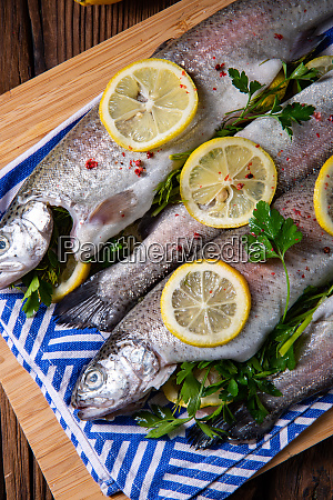 fresh trout with lemon and different