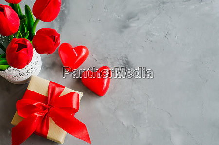 bouquet of tulips gift box and