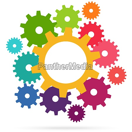 colored teamwork gears