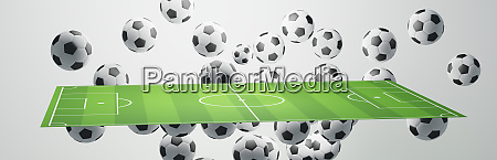 soccer ball soccer field 3d illustration