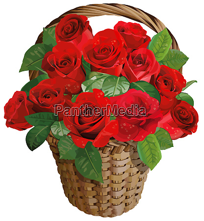 roses basket red valentine love flower