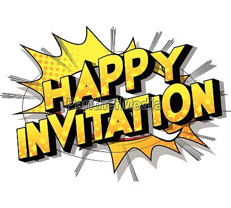 happy invitation comic book style