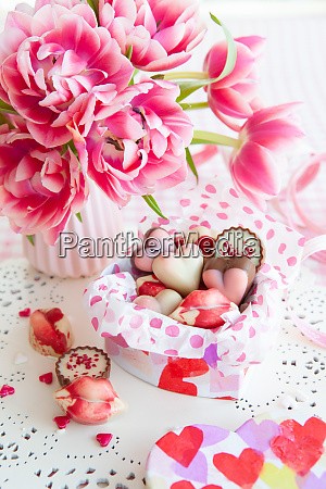 yummy sweets and fresh flowers