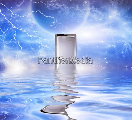 surrealism white door symbolizes portal to