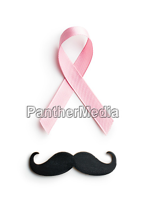 pink breast cancer ribbon and mustache