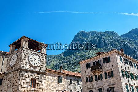 clock tower in kotor montenegro
