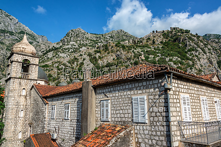 historic architecture and mountains