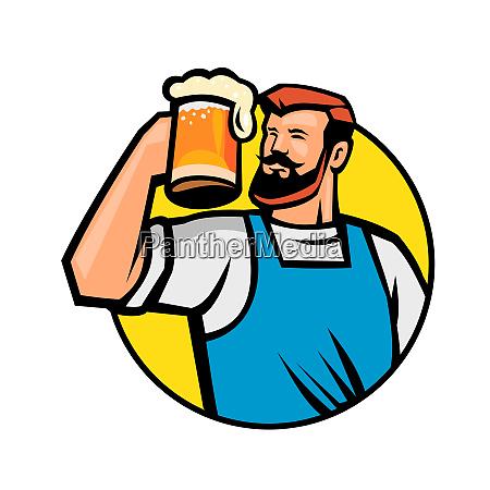 bearded hipster toasting beer mug circle