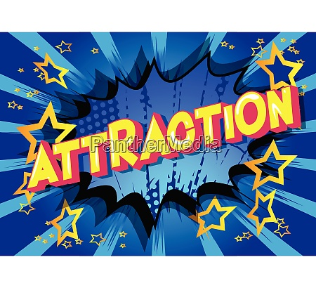 attraction comic book style words