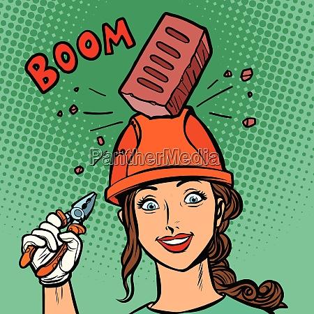 female professional brick falls on helmet