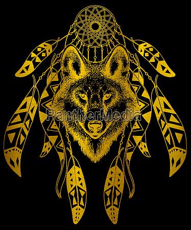 wolf dreamcatcher native wildlife american indian