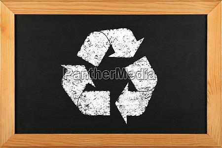 black school chalkboard with chalk recycle