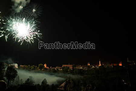 fireworks at rothenburg bavaria germany
