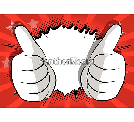 cartoon hands making thumbs up sign