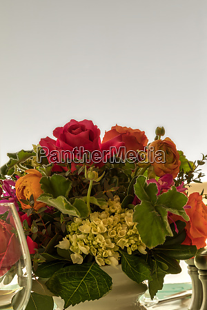 bouquet of flowers including red roses
